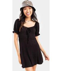 amora front tie knit mini dress - black