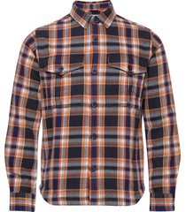pine ls checked overshirt - gots/ve overhemd casual blauw knowledge cotton apparel