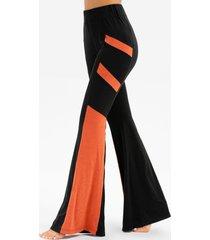 contrast color elastic waist wide leg pants