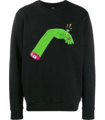 marcelo burlon county of milan hand print sweatshirt - black