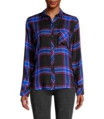 rails women's hunter plaid shirt - navy cobalt - size xs