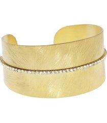 bracciale bangle medium in bronzo dorato e cristalli per donna