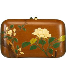 green tourmaline and marquetry flower clutch