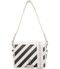 off-white diag flap shoulder bag in white leather