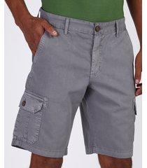 bermuda de sarja masculina cargo com bolsos cinza