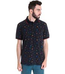 camisa polo masculina manga curta 33606 preto