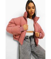 gewatteerde jas met hoge kraag, dusky pink