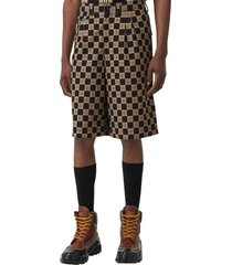 men's burberry dan chequer bermuda shorts, size 38 - black