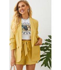 yoins amarillo bolsillos laterales chaqueta y pantalón corto con cuello chal