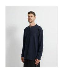 camiseta pijama manga longa com gola henley | viko | azul | p