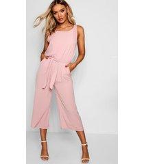 woven sleeveless culotte jumpsuit, rose