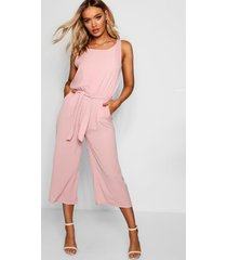 woven sleeveless culotte jumpsuit, rose