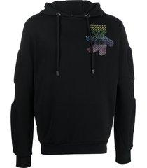 philipp plein teddy bear crystal-embellished hoodie - black