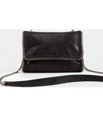 women's eliza metallic chain crossbody handbag in black by francesca's - size: one size