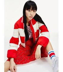 tommy hilfiger women's rugby stripe nylon jacket deep crimson / light silt - xxs