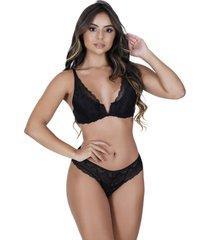conjunto lingerie estilo sedutor em renda decote v preta - vf49 - preto - feminino - renda - dafiti