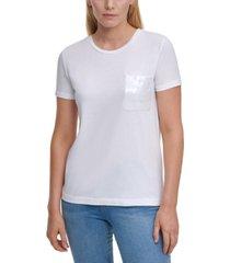 dkny sequin-pocket t-shirt