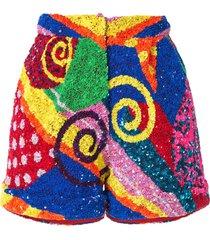 manish arora swirl patchwork sequin shorts - multicolour