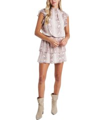 women's 1.state snakeskin print tiered chiffon dress