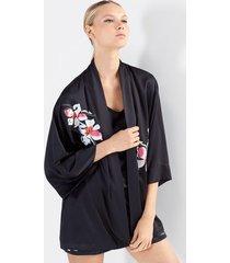 natori cattleya embroidery shorts pajamas, women's, black, size xs natori