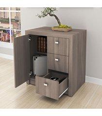 armário para escritório baixo 1 porta 3 gavetas me4111 carvalho - tecno mobili