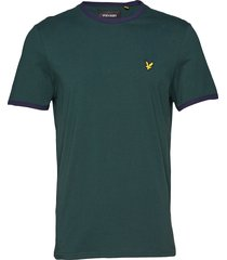 ringer t-shirt t-shirts short-sleeved grön lyle & scott