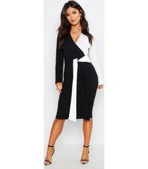 contrasterende colour block midi wikkel jurk, black