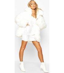 premium faux fur coat, white