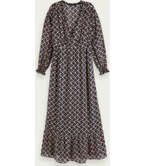 scotch & soda sheer printed long sleeve v-neck maxi dress