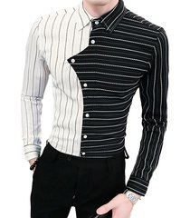 hombre casual trendy slim-fit peluquería rayas patchwork asimétrico camisa