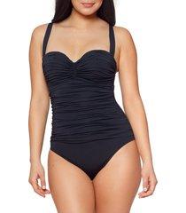 women's bleu by rod beattie kore shirred underwire one-piece swimsuit, size 10 - black