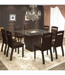 mesa de jantar 8 lugares aché ameixa/chocolate - mobilarte