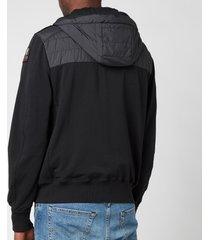 parajumpers men's ivor padded front hoodie - black - l