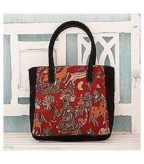 cotton tote bag, 'hunting expedition' (india)