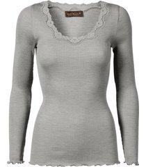 rosemunde rosemunde silke t-shirt vintage spets ljusgrå melange