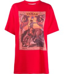 golden goose cowboy graphic print oversized t-shirt - red