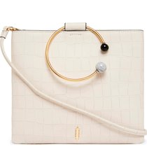 thacker le pouch beaded ring leather crossbody bag - white