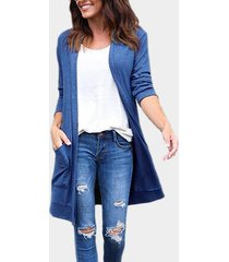blue two large pockets long sleeves causal cardigan