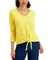 jm collection solid crochet trim top, created for macy's