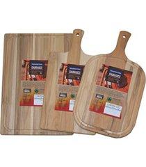 kit de tábuas para alimentos em madeira com 3 peças