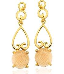 brinco toque de joia arabesco amazonita  ouro amarelo - tricae