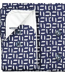 sleeve7 overhemd navy wit print dobby