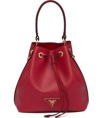prada triangle patch bucket bag - red