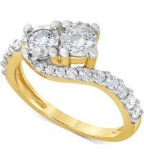 diamond swirl bypass ring (1 ct. t.w.) in 10k gold