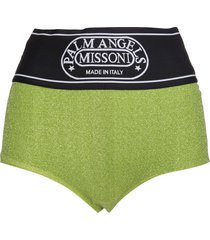 palm angels woman capsule shorts in green lurex