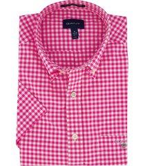 korte mouwen overhemd gant roze ruit regular fit