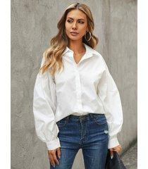 blusa de manga larga con cuello de botón delantero de yoins