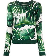twin-set suéter com estampa tropical - verde