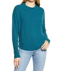 women's treasure & bond mock neck rib pullover, size x-small - blue/green