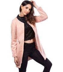 abrigo rosa en ante fluido con cremallera en bolsillos